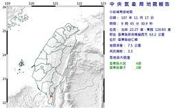 台東 地震 https://www.cwb.gov.tw/V7/earthquake/Data/local/ECL1117094533.htm