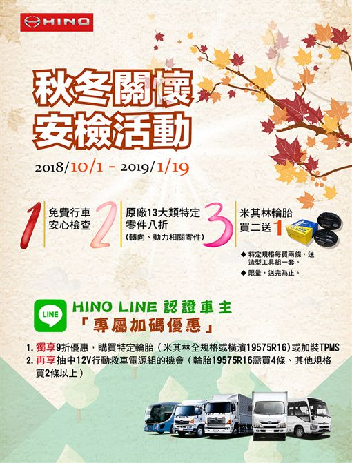HINO商用車舉辦「秋冬關懷安檢活動」。(圖/Toyota提供)