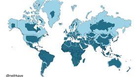 16:9 用錯450年…世界地圖重新繪製 地球沒有你想的這麼大 圖/翻攝自reddit https://www.reddit.com/user/neilrkaye/posts/