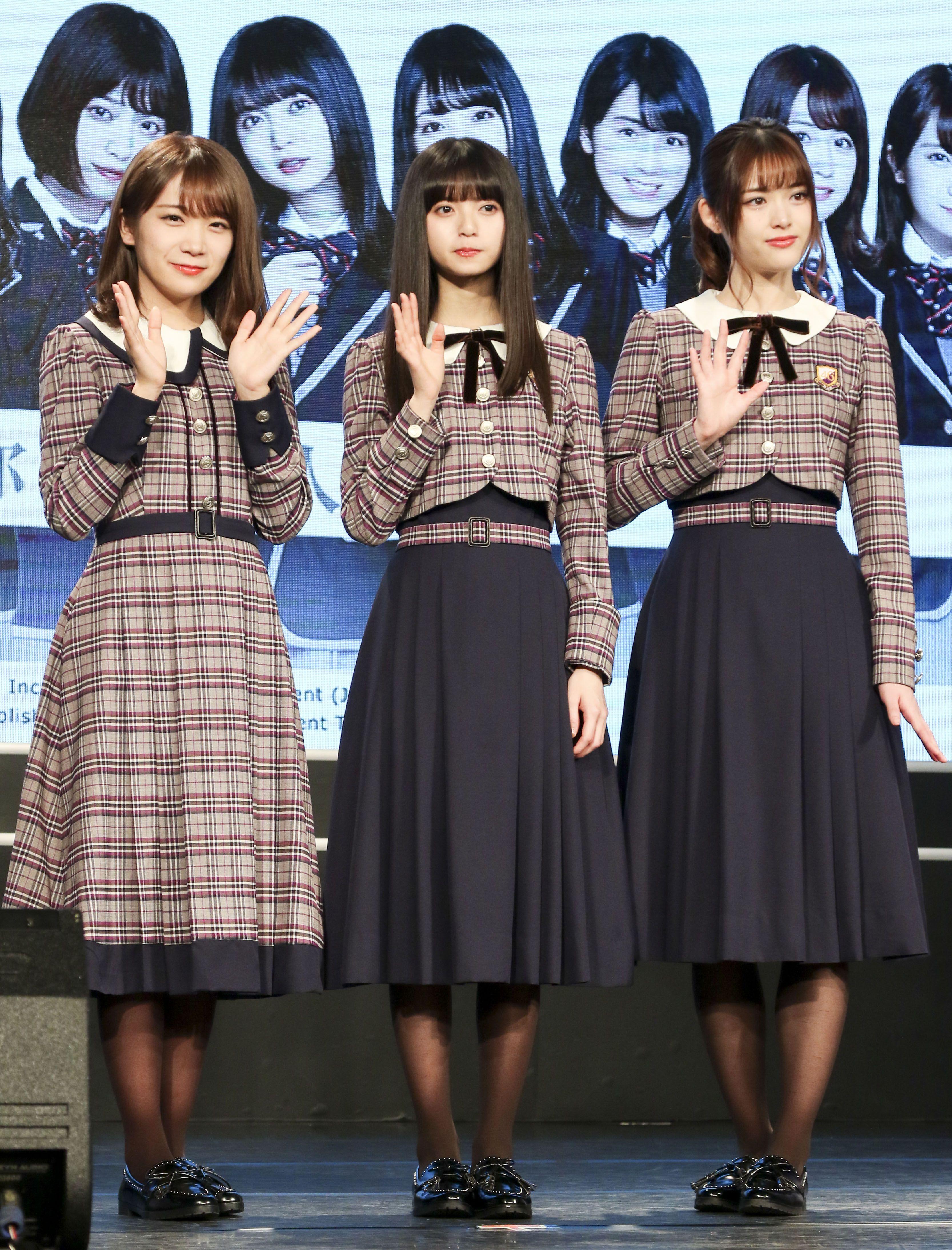日本女團「乃木坂46」成員秋元真夏、齋藤飛鳥、松村沙友理跨海來台宣傳代言手遊。(記者林士傑/攝影)