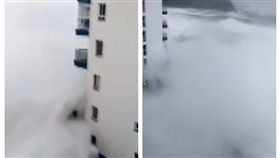 西班牙,巨浪,風暴,陽台