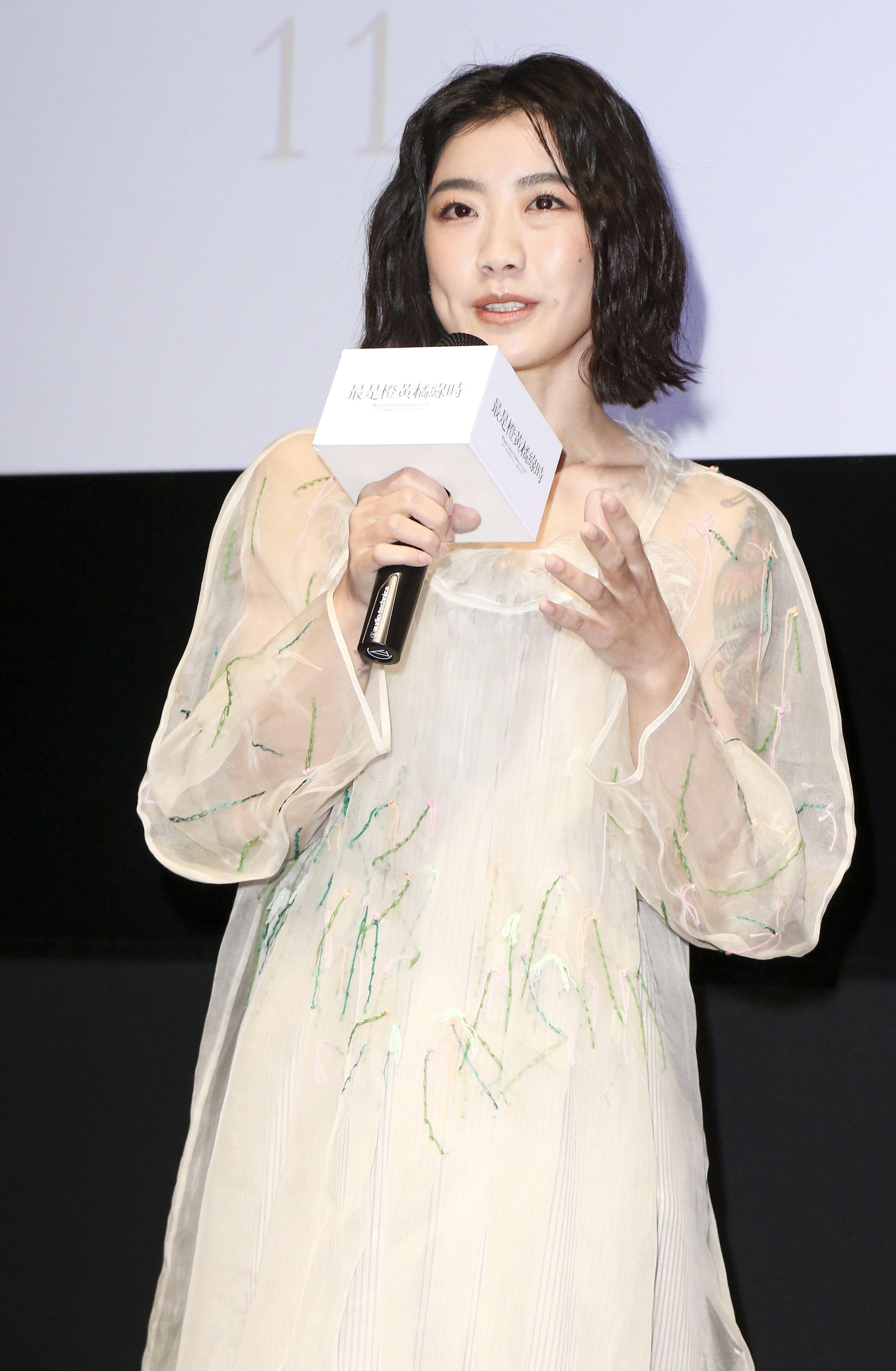「最是橙黃橘綠時」電影發佈會演員翁嘉薇。(記者林士傑/攝影)