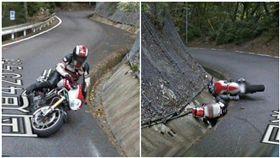 google街景圖拍下重機騎士雷殘瞬間。(圖/翻攝自爆廢公社)