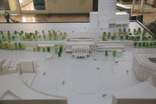 新台南車站造型曝光配合台南鐵路地下化,台南市政府規劃設計新台南車站,模型21日亮相。中央社記者張榮祥台南攝 107年11月21日