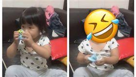 網友分享自己女兒脫襪聞,被自己的腳丫臭到變臉。(圖/網友授權提供)