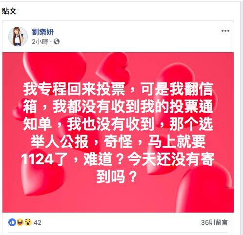 劉樂妍,投票,投票單,抹黑,民進黨