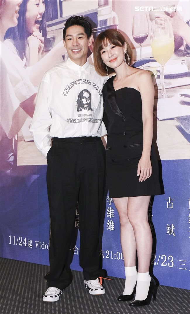 三立迷你劇「你好,幸福」首映會主演藍鈞天與李維維。(記者林士傑/攝影)