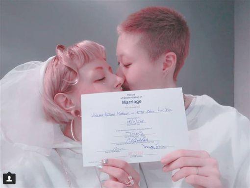 吳卓林跟女友Andi在加拿大結婚。(翻攝IG) ID-1659748