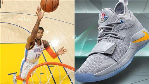 ▲熱愛電玩的Paul George穿PS遊戲機配色的球鞋上場。(圖/翻攝自推特/Nike提供)