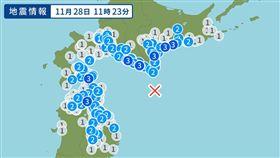 北海道外海5.9淺層地震 青森函館皆有感(圖/翻攝自日本YAHOO!)