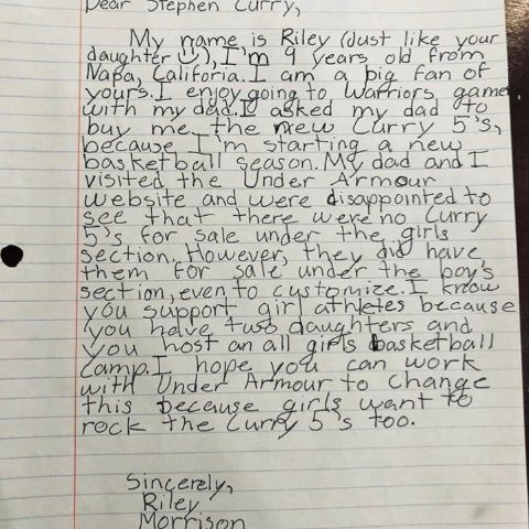 小女孩買嘸新鞋 暖男柯瑞親筆信回應NBA,金州勇士,Stephen Curry,Under Armour,暖男翻攝自推特