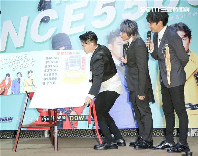 經典男團「5566」成員王仁甫、許孟哲、孫協志宣布即將在明年攻蛋並且宣布票價。(記者林士傑/攝影)