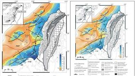 最近澳洲的全球碳封存研究所(Global CCS Institute)引用台灣學者在2003年發表的論文,卻將其中的地質圖和文字更改,「台灣」改成「中華台北」。圖左為原來的圖,圖右為被修改後的圖。(圖/翻攝自林殿順臉書)