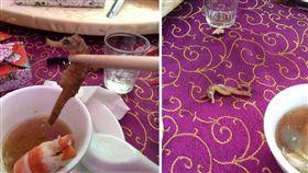 一名網友今(1)日去喝喜酒時,在雞湯中發現一隻「黑眼乾癟海馬」,由於他從沒見過這個食材,嚇得立刻po文找網友求助。其他網友看到後,掀起熱議,紛紛叫原po趕緊吃下去,因為這可是高級食材,「一斤上萬起跳」。(圖/翻攝自爆廢公社)