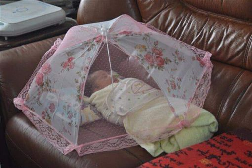阿嬤帶小孩妙招,菜罩當防蚊帳使用。(圖/翻攝自爆廢公社)