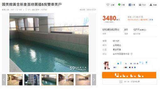 「每戶獨立游泳池」台中豪宅賣點卻淪缺點(圖/翻攝自591房屋租售網)