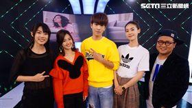 鍾瑶、林子閎、臧芮軒在《完全娛樂》新戲《艾蜜麗的五件事》,與主持人納豆、宇宙分享拍攝點滴。.
