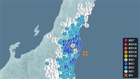 日本福島縣外海今(8)日上午發生推估規模5.1的有感地震,在福島縣部分城市觀測到震度4搖晃,但不會帶來海嘯威脅。(圖/翻攝自日本氣象廳)