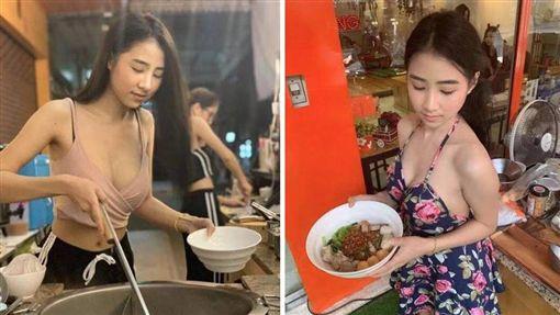 泰國傳說中的「麵條」爆乳女神出現啦!日前有網友發現,曼谷市區有一家熱燙麵店,女老闆擁有甜美外型、火辣身材,一彎腰「下麵」時,就滑出性感北半球,不少客人看到後為之瘋狂,暴動直喊「麵條色香味俱全!」(圖/翻攝自《khaosod》)