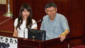 台北市政府觀傳局長陳思宇、台北市長柯文哲和熊讚備詢。 (圖/記者林敬旻攝)