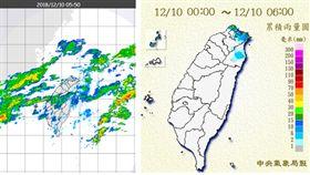圖:今(10日)晨5:50時雷達降水回波圖(左圖)顯示,台灣上空仍有華南東移的中高雲,伴隨微弱的降水回波。6時累積雨量圖(右圖)顯示,造成降水的主要機制,還是東北風迎風面的地形抬升作用,北海岸及東北部有局部雨、大台北有零星降雨。