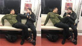 (圖/翻攝自微博)中國,地鐵,秀恩愛,腳趾,噁心