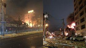 北海道,札幌,日本,居酒屋,爆炸,住商混合區,民眾,圍觀, 圖翻攝自推特