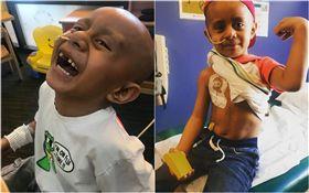 美國西雅圖有一名5歲男童,今年年初被診斷出罹患「腹腔癌」,他在化療期間,因為家人的關係漸漸迷上「麥可傑克遜」,更愛模仿他的舞蹈。他的媽媽把他開心跳舞的影片分享到網路,希望藉由兒子的樂觀,來鼓勵更多生病的孩童。(圖/翻攝自Leni Lutui臉書)