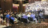 台灣強打王柏融與日本職棒火腿隊簽約,現場記者眾多壯觀。(記者林士傑/攝影)