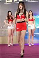 韓國G無霸美胸「賽車皇后」朴慶恩首度來台參與台北新車大展。(記者邱榮吉/攝影)