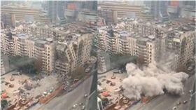 大樓拆一半「攔腰倒塌」 建商辯:只是灰塵比較大 圖/翻攝微博