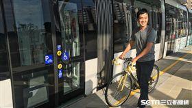 淡海輕軌,綠山線,多功能停放區,自行車,/記者蕭筠攝影
