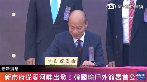 韓國瑜簽署上任後第一份公文