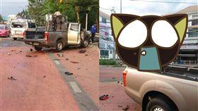 重機,車禍,泰國,過彎,打滑,貨車,死亡 圖/翻攝自臉書https://goo.gl/dhDAEa
