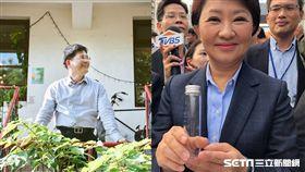 林佳龍、盧秀燕送空氣瓶/林佳龍臉書、記者張雅筑攝