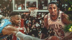 NBA/威少超越傳奇皮朋締造歷史! NBA,奧克拉荷馬雷霆,Russell Westbrook,耶誕大戰,Scottie Pippen 翻攝自推特
