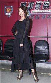 三立新八點華劇「必勝大丈夫」劇中警局片場採訪,飾演黃家二女兒黃天虹的林昀希。(記者林士傑/攝影)