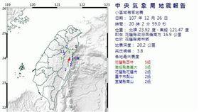 今(26)日晚間20點02分,台灣發生有感地震!根據中央氣象局地震報告指出,這起地震的震央位於花蓮縣秀林鄉,芮氏規模3.8,地震深度20.2公里。各地最大震度如下: