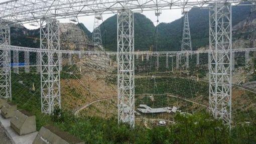 2015年興建中的中國天眼。(圖/取自維基百科)