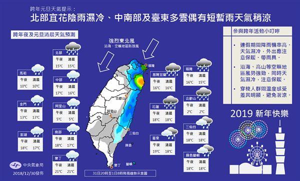 天氣,氣象局,跨年,元旦,下雪