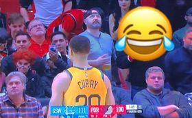NBA/神射柯瑞罰球 拓迷神招干擾 NBA,金州勇士,Stephen Curry,登月,太空人,干擾 翻攝自推特