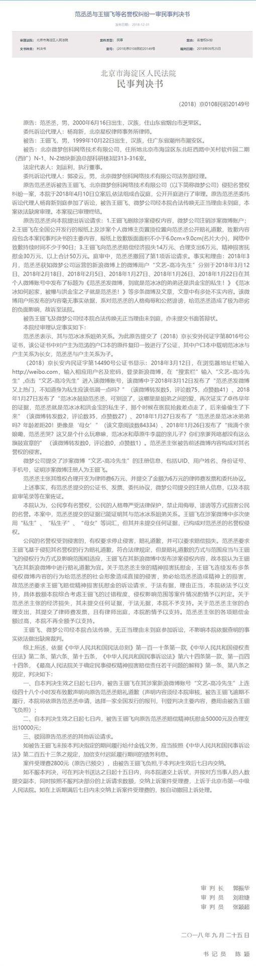 范丞丞告網友/翻攝自新浪娛樂微博