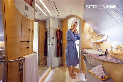 阿聯酋航空,空中巴士,A380,水療淋浴間,頭等艙,/阿聯酋航空提供