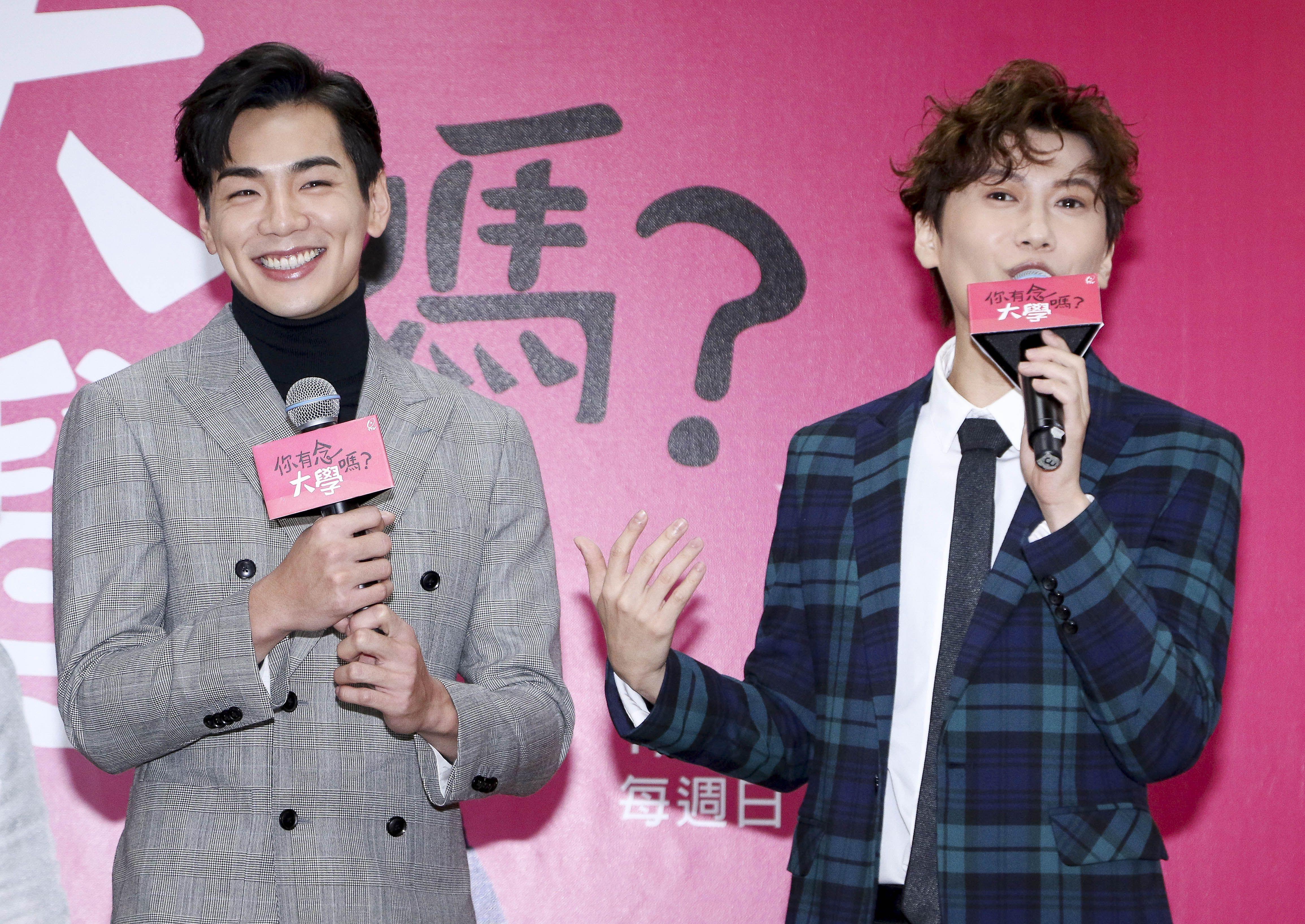 「你有念大學嗎?」演員禾浩辰 (布魯斯)、邱宇辰(毛弟)一同出席。(記者林士傑/攝影)