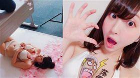 椎名香奈江常在胸部作畫,用另類方式展現繪畫。(圖/翻攝自推特)