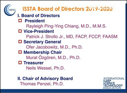 江秉穎醫師連任「ISSTA國際睡眠科學與科技協會」德國總會理事長(ISSTA)