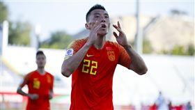 ▲中國于大寶踢進超前的一球。(圖/美聯社/達志影像)