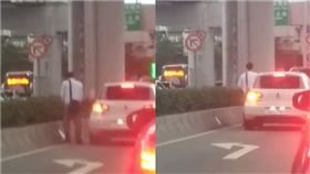 內湖,南京東路,紅燈,安全島,尿尿(圖/翻攝自爆料公社臉書)