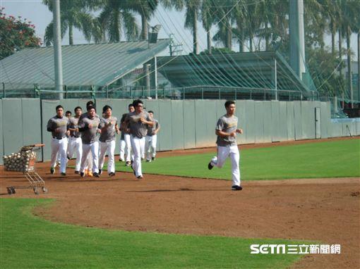 ▲中信兄弟投手群體能跑步訓練。(圖/記者蕭保祥攝影)