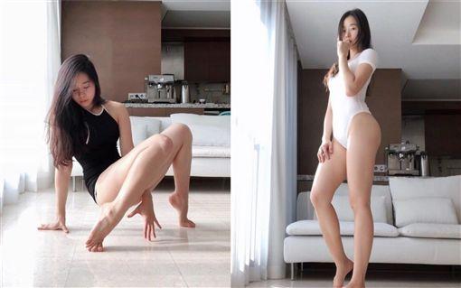 瑜珈正妹大秀「蜜大腿」。(圖/翻攝自PTT表特板)